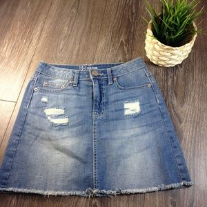 Denim Skirt Distressed Mid to High Rise Size 1